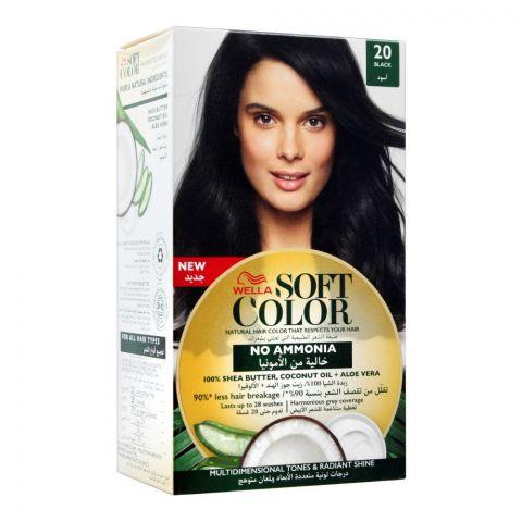 Wella Soft Color No Ammonia Hair Color, 20 Black