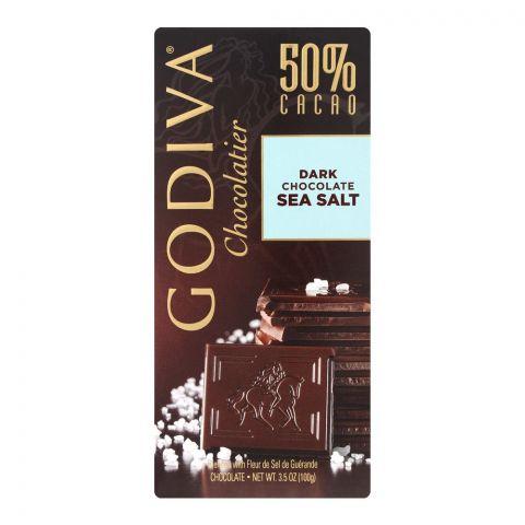Godiva Sea Salt Dark Chocolate Bar, 50% Cacao, 100g