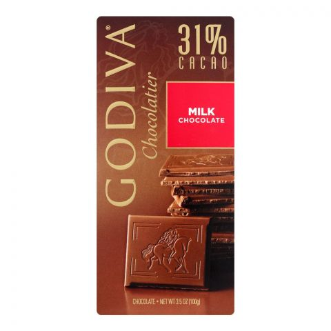 Godiva Milk Chocolate Bar, 31% Cacao, 100g