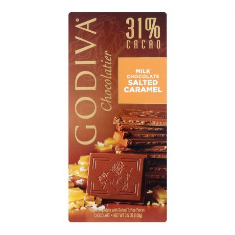 Godiva Salted Caramel Milk Chocolate Bar, 31% Cacao, 100g