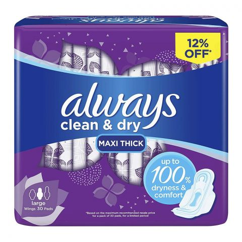 Always Clean & Dry Maxi Thick Wings Pads, Large, 30-Pack