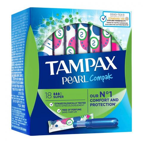 Tampax Pearl Compak Comfort And Protection Tampons, Super, 18-Pack
