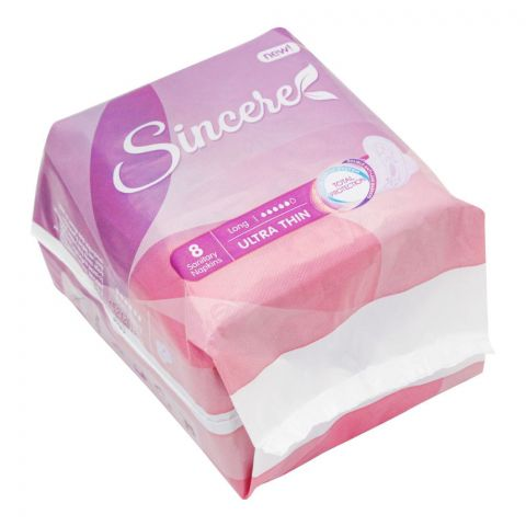Sincere Ultra Thin Long Sanitary Napkins, 8 Pads