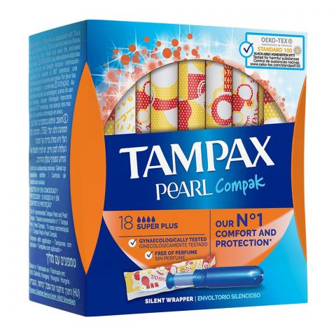 Tampax Pearl Compak Comfort And Protection Tampons, Super Plus, 18-Pack