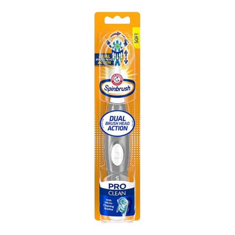 Arm & Hammer Pro Clean Dual Brush Head Action Spinbrush Electric Toothbrush, Soft