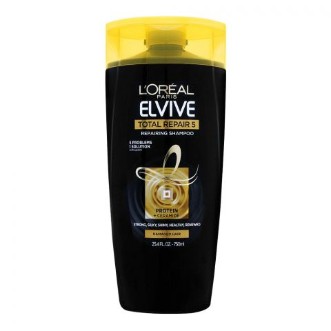 L'Oreal Paris Elvive Total Repair 5 Repairing Shampoo, Damaged Hair, Imported, 750ml