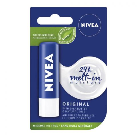 Nivea 24h Melt-In Moisture Lip Balm, Original Shea Butter