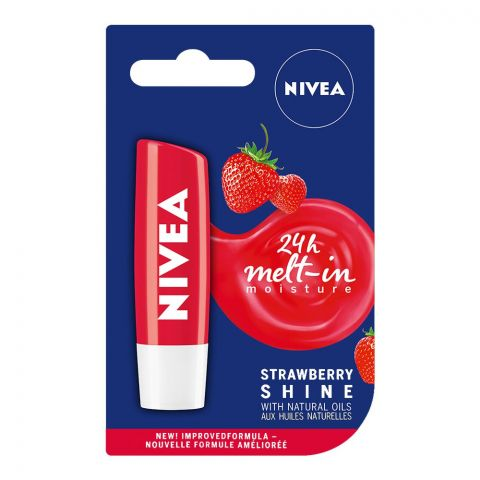 Nivea 24h Melt-In Moisture Lip Balm, Strawberry Shine