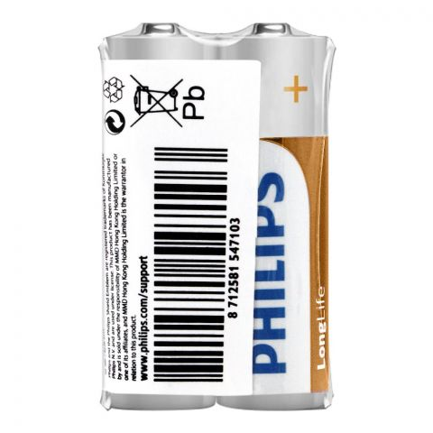 Philips Long Life AA Batteries, 2-Pack, R6L2F/97