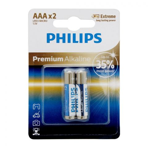 Philips Premium Alkaline AAA Batteries, 2-Pack, LR03M2B/97