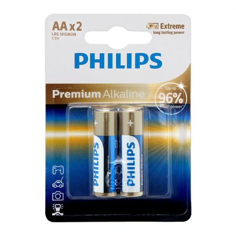 Philips Premium Alkaline AA Batteries, 2-Pack, LR6M2B/97