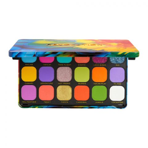 Makeup Revolution Forever Flawless Eyeshadow Palette, Birds Of Paradise, 18 Shades