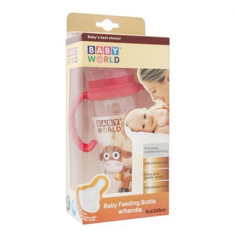 Baby World Baby Feeding Bottle With Handle, 240ml, BW2027