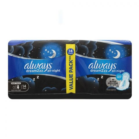 Always DreamZzz All Night Maxi Thick Extra Long Night Pads, 14 Pads Value Pack