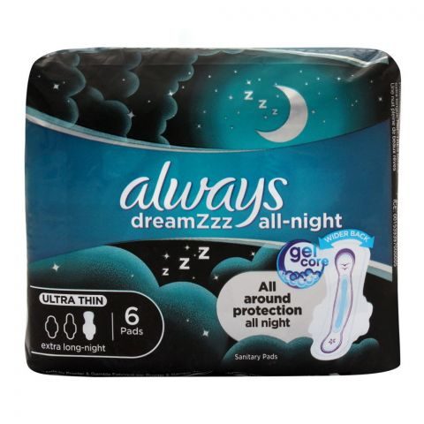 Always DreamZzz All Night Ultra Thin Extra Long Night Pads, 6 Pads
