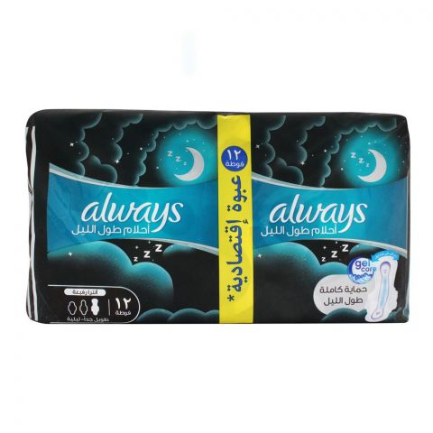 Always DreamZzz All Night Ultra Thin Extra Long Night Pads, 12 Pads Value Pack