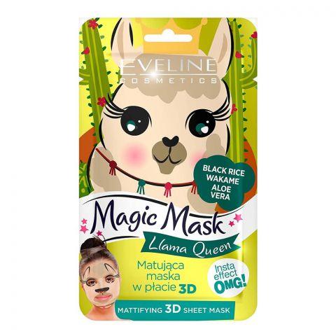 Eveline Llama Queen Black Rice Aloe Vera Mattifying 3D Magic Sheet Mask