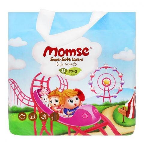 Momse Baby Pants, M-3, 6-11 KG, 32-Pack