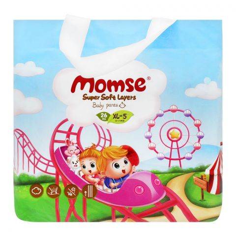 Momse Baby Pants, XL-5, 12-17 KG, 26-Pack