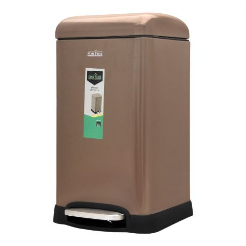 Home Fresh Step Trash Bin, 12 Liters, Square, Brown, HF-0022