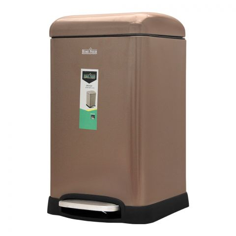 Home Fresh Step Trash Bin, 20 Liters, Square, Brown, HF-0023