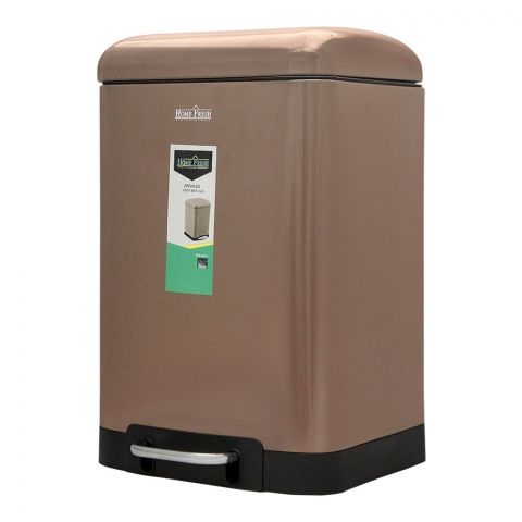 Home Fresh Step Trash Bin, 12 Liters, Rectangular, Brown, HF-0031