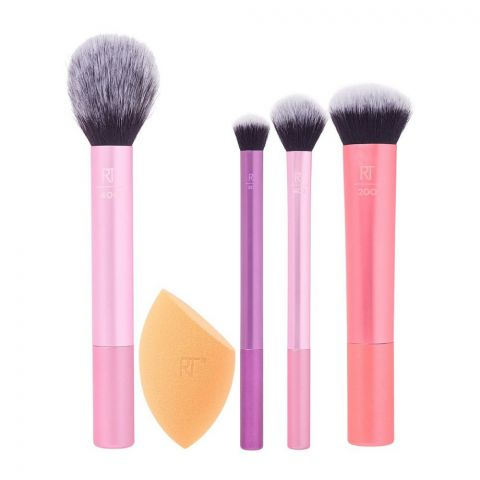 Real Techniques Everyday Essential Brush Set, Face + Eyes + Cheek, 5 Pieces