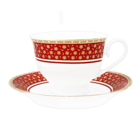 Cera-E-Noor Elegant Decorated Grace Red Tea Set, 12 Pieces, 611021