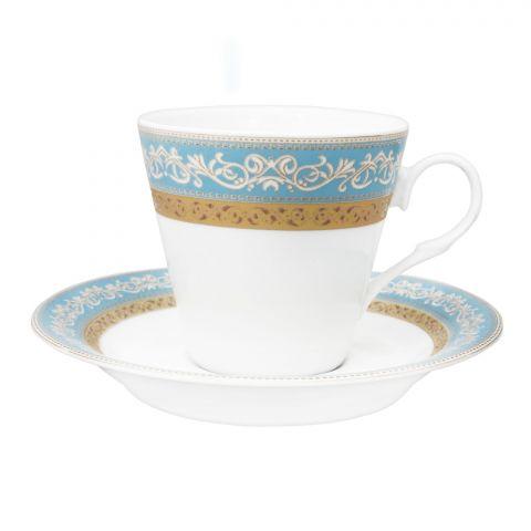 Cera-E-Noor Elegant Decorated Morish Blue Tea Set, 12 Pieces, 611021