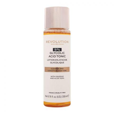 Makeup Revolution 5% Glycolic Acid Tonic, With Ginseng & Aloe Vera, 200ml