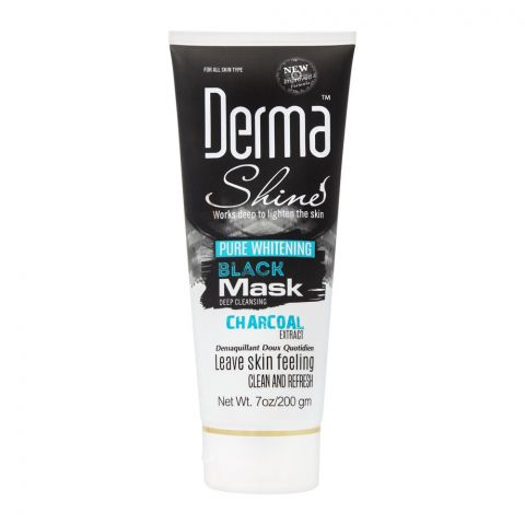 Derma Shine Pure Whitening Charcoal Extract Black Face Mask, 200g