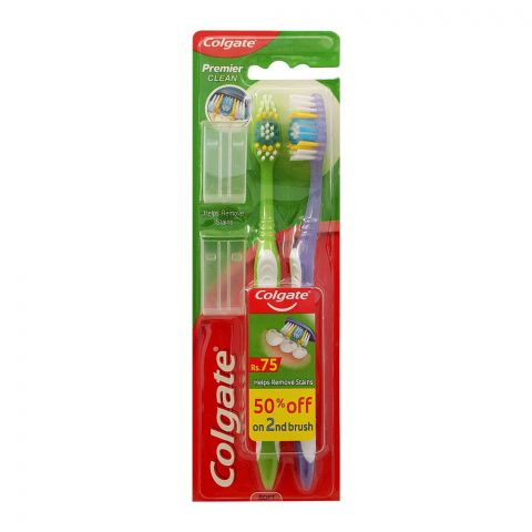 Colgate Premier Clean Toothbrush, Soft, 2-Pack, 50% OFF