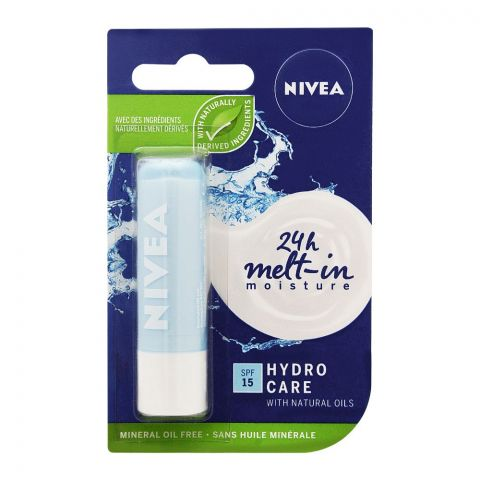 Nivea 24h Melt-In Moisture Lip Balm, SPF 15, Hydro Care