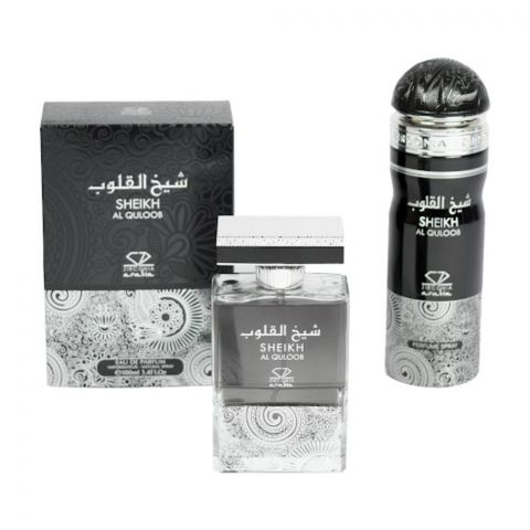Zirconia Sheikh Al Quloob Set EDP 100ml + Perfume Body Spray, For Men, 200ml