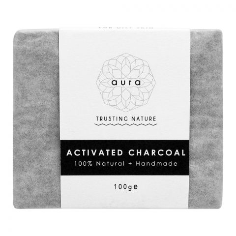 Aura Crafts Trusting Nature Activated Charcoal Homemade Soap Bar, 100g