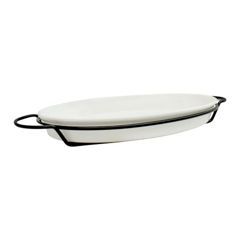 Brilliant Oval Plate With Iron Stand, 12.75 Inches, BR0049