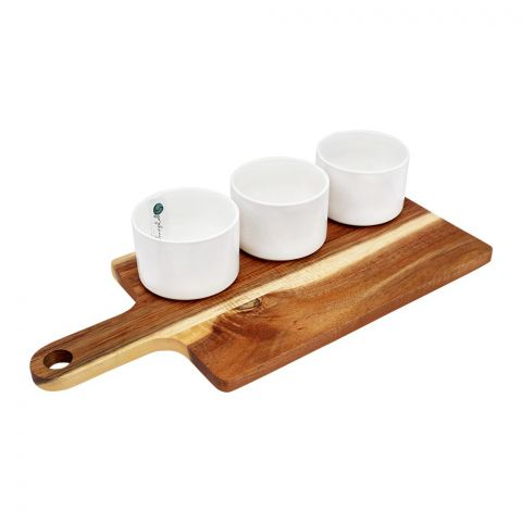 Symphony Acacia Round Bowl Set, With Paddleboard, 4 Pieces, SY-4445