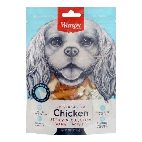 Wanpy Oven-Roasted Chicken Jerky & Calcium Bone Twists, Dog Food, 100g