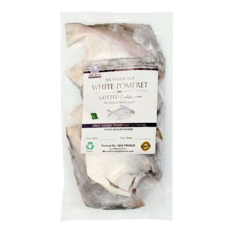 Sea Prince Frozen Whole White Pomfret Fish, Vacuum Packed