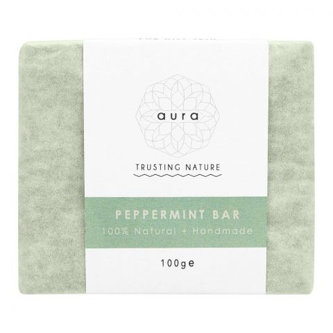Aura Crafts Trusting Nature Peppermint Homemade Soap Bar, 100g