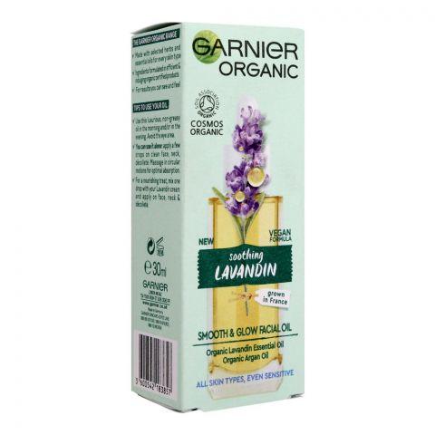 Garnier Organic Soothing Lavandin Smooth & Glow Facial Oil, All Skin Types, 30ml