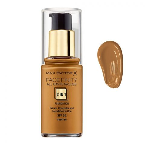 Max Factor Facefinity All Day Flawless 3-In-1 Foundation, 95 Tawny