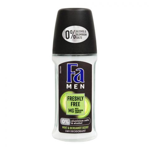 Fa Men 24H Freshly Free Mint & Bergamot Scent Roll-On Deodorant, For Men, 50ml