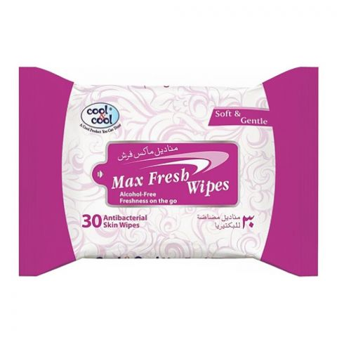 Cool & Cool Max Fresh Antibacterial Wipes, 30-Pack