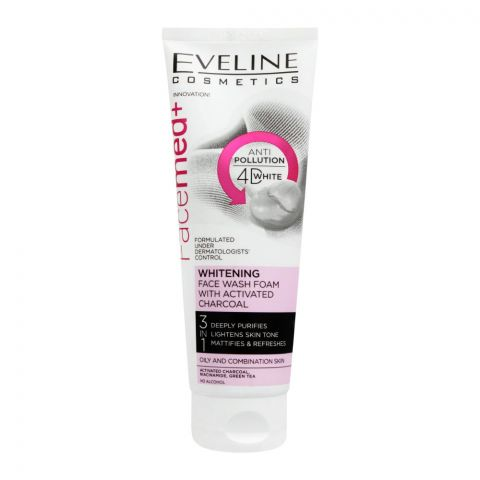 Eveline Facemed+ 3-In-1 Whitening Activated Charcoal Face Wash Foam, 100ml