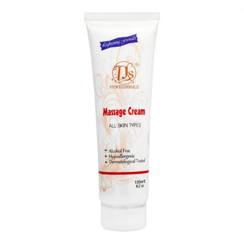 TJs Professionals Massage Cream, Alcohol Free, All Skin Types, 120ml