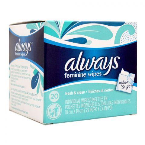 Always Feminine Wipes-To-Go Fresh & Clean Wipes, 20-Pack