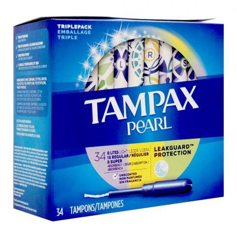 Tampax Pearl Leakguard Protection Tampons, Triple Pack, Regular + Super + Lites, 34-Pack