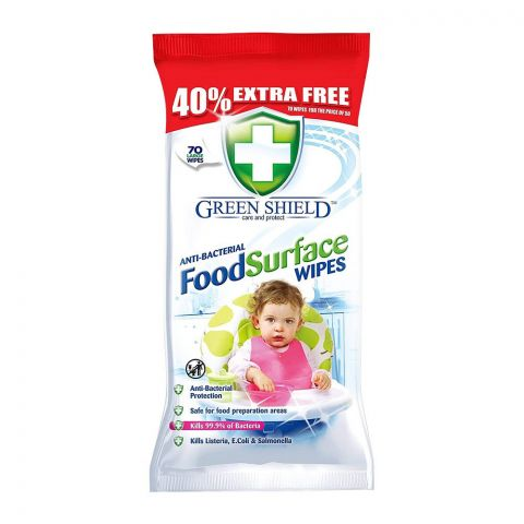 Green Shield Anti-Bacterial Food Surface Wipes, 70-Pack