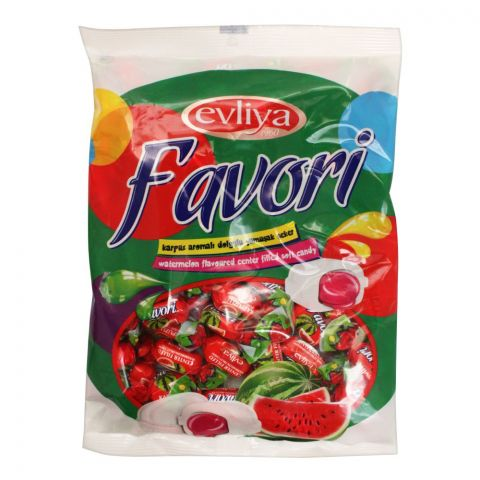 Evliya Favori Watermelon Flavoured Center Filled Soft Candy, Pouch, 350g